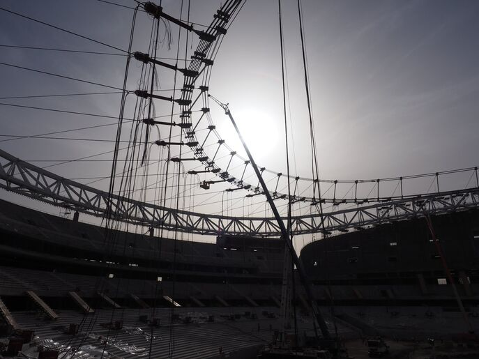 Rope assembly roofing, soccer stadium La Peineta, Madrid